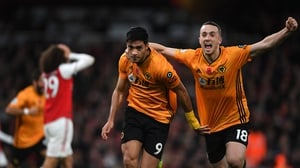 Raul Jimenez celebrates nabbing the 76th minute equaliser as Wolves take a deserved draw in the Emirates Stadium