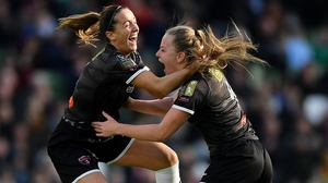 Lauren Kelly of Wexford Youths, right, celebrates Kylie Murphy after opening the scoring at the Aviva Stadium