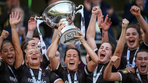 Wexford Youths captain Kylie Murphy lifts the FAI Cup