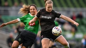 Lauren Kelly of Wexford Youths and Louise Corrigan of Peamount United