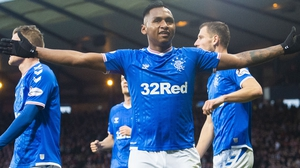 Rangers' Alfredo Morelos celebrates his second goal