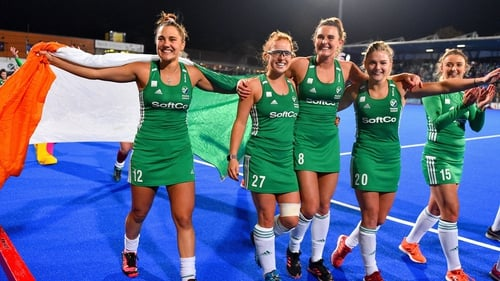 Ireland celebrate with the crowd at Energia Park