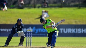 Kevin O'Brien batting for Ireland against Scotland in September