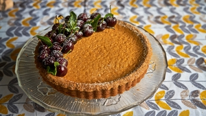 Catherine Fulvio's Baked Irish Coffee Cheese Cake with Cherry Sauce.