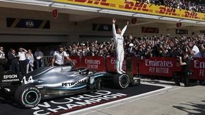 Lewis Hamilton celebrates in Austin
