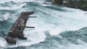 The Iron Scow has been stuck on the rocks at Niagara Falls since August 1918 (Pic Niagara Parks)