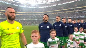 Alan Mannus (L) pictured during the anthem