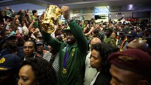 Springbok captain Siya Kolisi salutes the fans