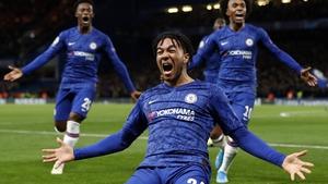 Reece James celebrates his goal for Chelsea