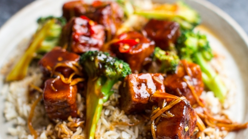 General Tso refers to the sauce rather than the dish itself - this sweet sticky sauce, usually served with chicken, is a staple of North American Chinese restaurants.