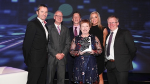 Dr Ciaran Seoighe, Deputy Director General Science Foundation Ireland with Atlantic Therapeutics' Richard Allen, Danny Forde, Dr Ruth Maher, Christina Walsh and Brendan McCormack at the awards