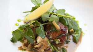 Kevin Aherne's Scallops with Mushroom Watercress Salad Apple