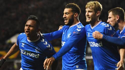 Rangers' Alfredo Morelos celebrates his goal