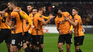 Raul Jimenez celebrates his decisive goal for Wolverhampton Wanderers