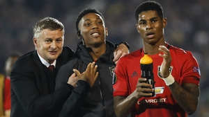 Ole Gunnar Solskjaer with Anthony Martial and Marcus Rashford