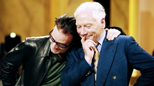 Gay Byrne with Bono on the broadcasting great's final Late Late Show in May 1999