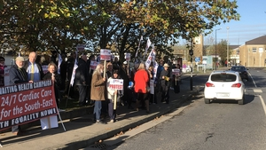 Up to 100 people attended today's protest outside UHW