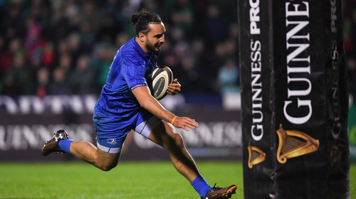 James Lowe racing through for Leinster's sixth try of the evening