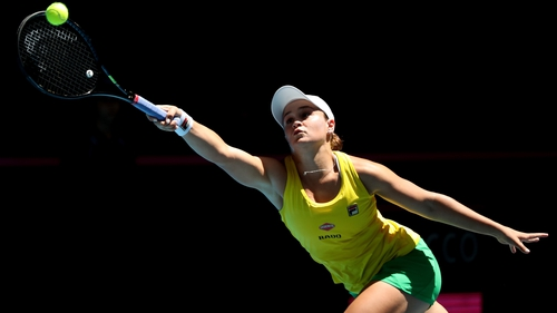 Ash Barty during her singles match against Caroline Garcia