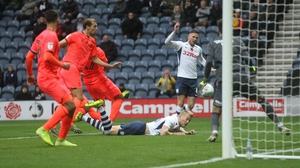 Alan Browne scores Preston's second goal in the 3-1 victory over Huddersfield