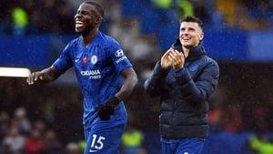 Kurt Zouma and Mason Mount celebrate Chelsea's victory over Crystal Palace on Saturday