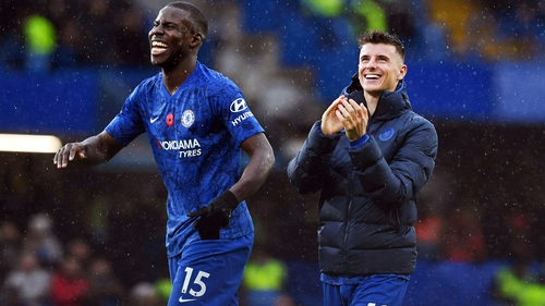 Kurt Zouma and Mason Mount celebrate Chelsea's victory over Crystal Palace on Saturday