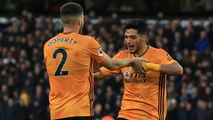 Raul Jimenez celebrates with Republic of Ireland international Matt Doherty
