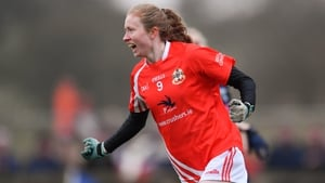 Louise Ward celebrates her second, and Kilkerrin/Clonberne's fifth goal in the ladies All-Ireland club semi-final