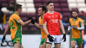 Liam Silke celebrates his second-half goal with Corofin team-mate Jason Leonard