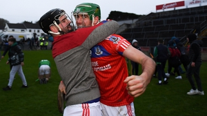 David Burke, left, celebrate St Thomas' county final victory with team-mate James Barrett