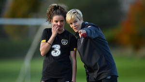 Leanne Kiernan on the training pitch with manager Vera Pauw