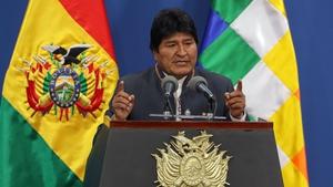 Former president of Bolivia Evo Morales delivers a speech in La Paz last month