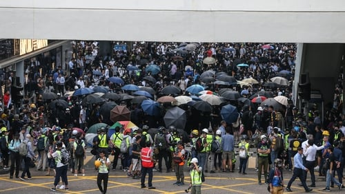Protesters took to the streets in the city's Central business district