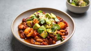 Spiced Prawns with Mexican Bean Stew