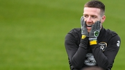 Jack Byrne sharing a joke at Ireland training on Wednesday