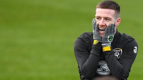 Jack Byrne sharing a joke at Ireland training on Wednesday