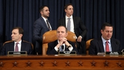 (L-R) Intelligence Committee director of investigations Daniel Goldman, committee Chairman Adam Schiff, and committee member Devin Nunes