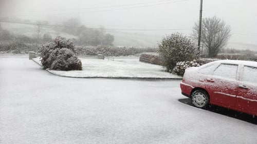 There were accumulations of snow on higher ground across counties Laois, Carlow and Kildare