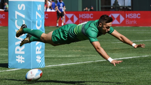 Greg O'Shea of Ireland dives after scoring a try against Australia in their Challenge Final game in San Francisco, last year