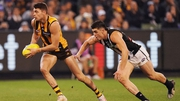 Conor Nash in action for the Hawthorn Hawks against Collingwood Magpies in July
