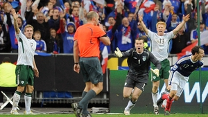 Irish players react in 2009 over referee Martin Hansson's failure to spot Thierry Henry's handball in the World Cup play-off