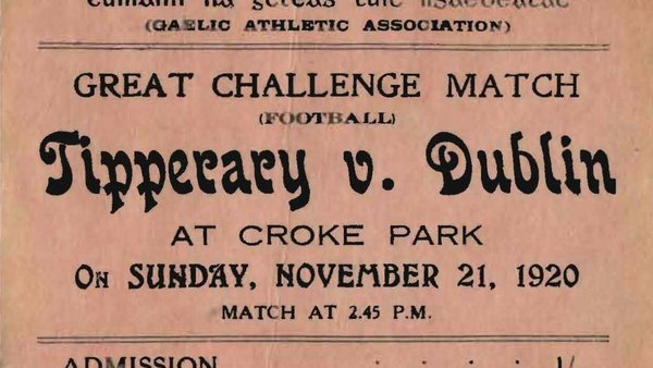 A ticket for the game at which 14 people were killed