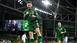 Sean Maguire celebrates after scoring his first international goal