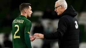 Lee O'Connor gets some advice from Republic of Ireland manager Mick McCarthy