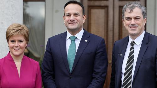 Nicola Sturgeon, Leo Varadkar and Julian Smith at the British-Irish Council meeting in Farmleigh