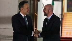 Leo Varadkar greets Charles Michel outside Government Buildings
