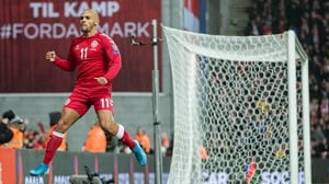 Martin Braithwaite celebrates scoring Denmark's third goal