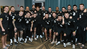 Richard Keogh with the Ireland squad after his arrival at the team hotel