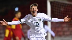 Ben McCormack celebrates scoring Ireland's third goal