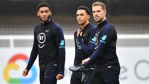 Joe Gomez and Jordan Henderson, along with Trent Alexander-Arnold, during an England training session this week